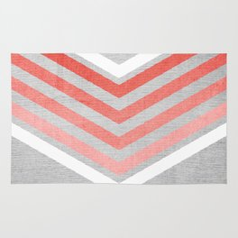 Coral Gradient Chevron on Silver Grey Wood Rug