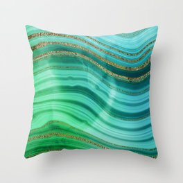 Ocean Blue And Green Mermaid Glamour Marble Throw Pillow