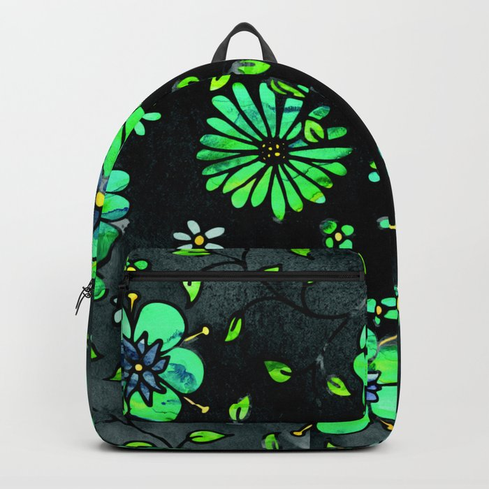 Green Small Flowers Backpack