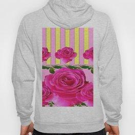 CERISE PINK SPRING  ROSE FLOWERS YELLOW STRIPES  PATTERN Hoody