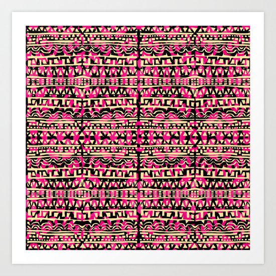 Tapestry Pattern Small Scale - Golden Pink Art Print
