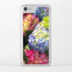 Colorful Hydrangea Flowers Clear iPhone Case