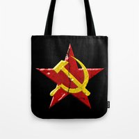 soviet Tote Bags featuring Soviet symbol by Emma Harckham