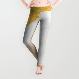 Carrara Marble with Gold and Pantone Hazelnut Color Leggings