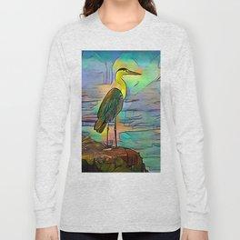 Grey heron on coast of ocean Long Sleeve T-shirt