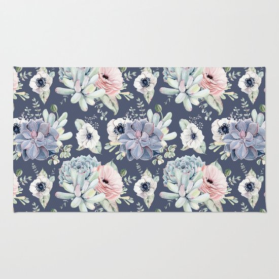 beautiful succulent garden navy blue pink rug by nature magick society6. Black Bedroom Furniture Sets. Home Design Ideas
