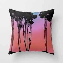 Forest Silhouette Sherbet Sunset by Seasons K Designs for Salty Raven Throw Pillow