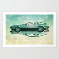 delorean Art Prints featuring Siamese  Delorean by Vin Zzep