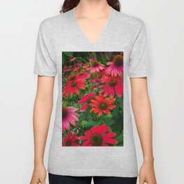 Red Floral Coneflowers English Garden Print Unisex V-Neck