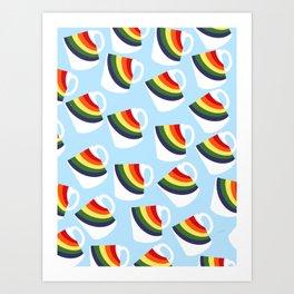 Drag Me Down Rainbow Mugs Art Print