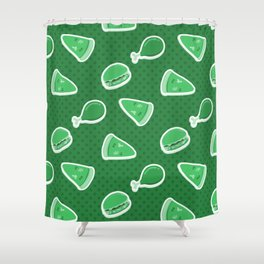 Pizza Burgers and Fried Chicken Time Picnic on Green Shower Curtain