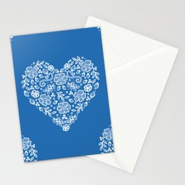 Azure Strong Blue Heart Lace Flowers Stationery Cards
