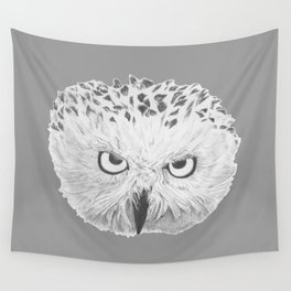 Snowy Owl Grey Wall Tapestry