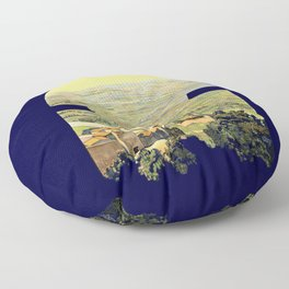 Vintage Litho Travel ad Assisi Italy Floor Pillow