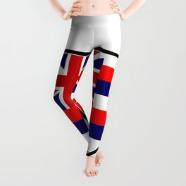 Hawaii Flag In An Interstate Sign Leggings
