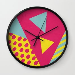 Pink Turquoise Geometric Pattern in Pop Art, Retro, 80s Style Wall Clock