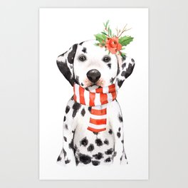 Adorable Holiday Dalmatian Puppy Art Print