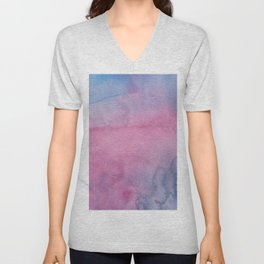 Girly pink lilac blue watercolor abstract pattern Unisex V-Neck