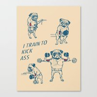 workout Canvas Prints featuring Pug Workout by Huebucket