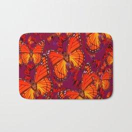 Decorative Orange Monarch Butterflies Patterns Bath Mat