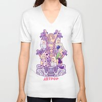 artrave V-neck T-shirts featuring ARTRAVE Poster illustration by Jaimie Hutton