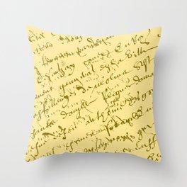 French Script on Yellow Throw Pillow