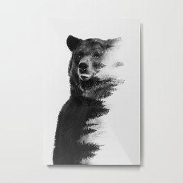 Observing Bear Metal Print