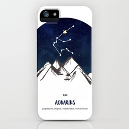 Astrology Aquarius Zodiac Horoscope Constellation Star Sign Watercolor Poster Wall Art iPhone Case