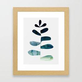 Aqua Ombre Plant Framed Art Print