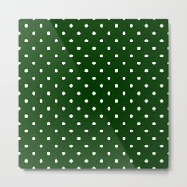 Forest Green Polka Dots Metal Print