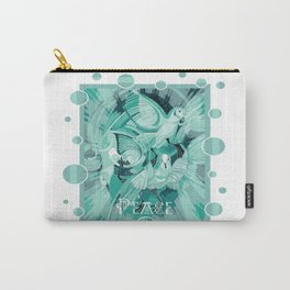 Dove With Celtic Peace Text In Aqua Tones Carry-All Pouch