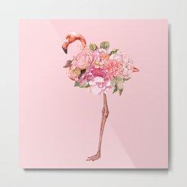 Flamingo with Flowers Crown Metal Print