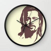brad pitt Wall Clocks featuring Brad Pitt :) by Dora Birgis