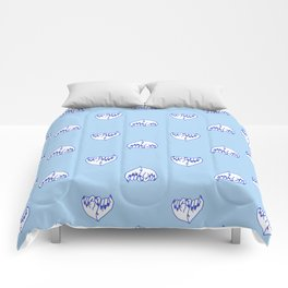 Best Friend Galentine's Day Pinky Promise Pattern in Blue Comforters