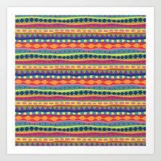 Stripey-Crayon Colors Art Print