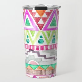 Watercolor Aztec Pattern Pink Travel Mug