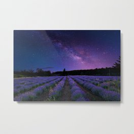 Milky Way over Lavender Fields Photographic Landscape Metal Print