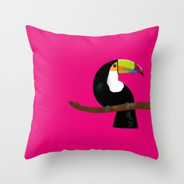 Toucan pink fuchsia Throw Pillow