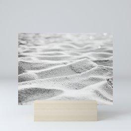 Black and White Sand Beach Abstract Art, Grey Gray Seashore, Neutral Coastal Photo Mini Art Print