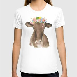 Brown Cow with Floral Wreath T-shirt