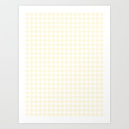 Small Diamonds - White and Cornsilk Yellow Art Print