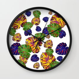 GREEN-GOLD-PURPLE TROPICAL LEAVES ART Wall Clock