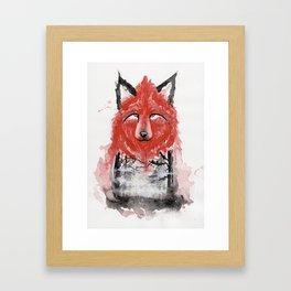 The Red Wolf Fog Framed Art Print