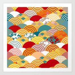 Nature background with japanese sakura flower, orange red pink Cherry, wave circle pattern Art Print