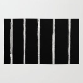 Skinny Strokes Gapped Vertical Off White on Black Rug