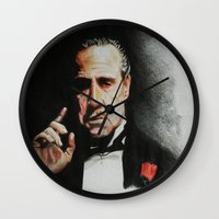 the godfather Wall Clocks featuring The Godfather by Tridib Das