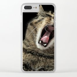 Cat Yawning Clear iPhone Case
