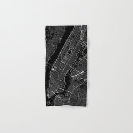 New York City Black Map Hand & Bath Towel