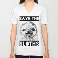 sloths V-neck T-shirts featuring Save the Sloths by Gruntleddesign