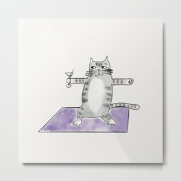 Yoga Warrior Pose Kitty Cat with martini  Metal Print
